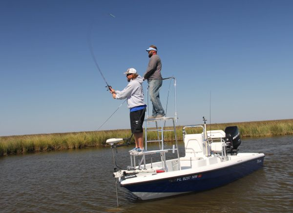 A boat tower will make you a much better redfish angler for Fishing platform boat