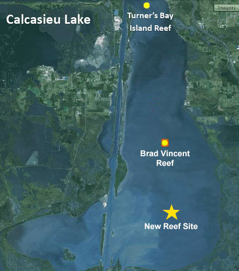 Cca plans new artificial reef on south end of big lake for Lake calcasieu fishing guides